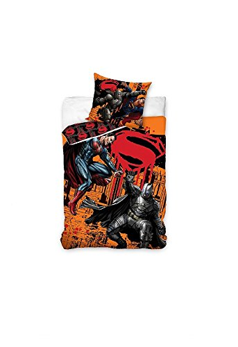 Batman Parure de Lit, Coton, Orange, 140x200+70x90 cm