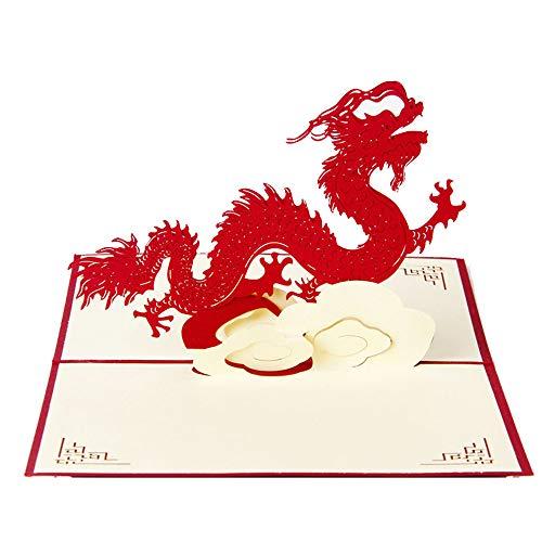 U/K HochwertigPapiermodelle Pop-Up Chinese Dragon 3D Grußkarten Neuerscheinung
