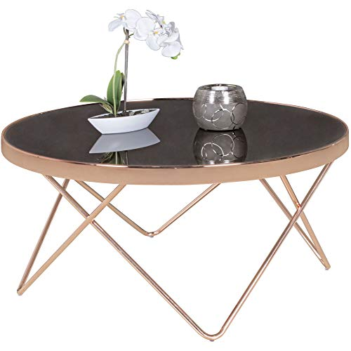 FineBuy Couchtisch Glas ø 82 cm Metall Wohnzimmertisch Modern | Glastisch Rund Sofatisch Wohnzimmer Schwarz | Moderner Metalltisch mit Glasplatte | Kleiner Runder Design Tisch