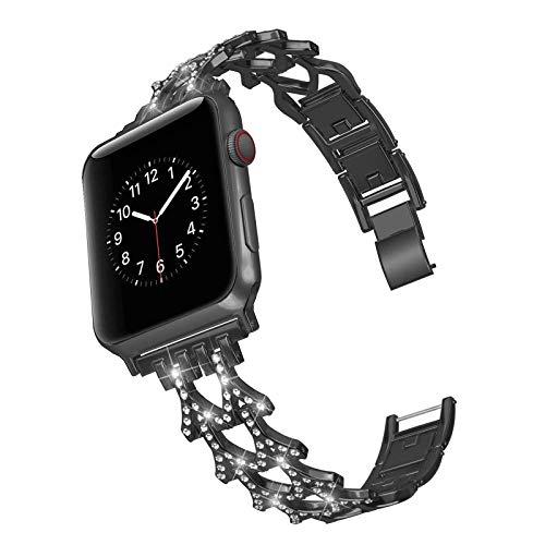 CHENPENG Compatible con la Serie de Banda de Reloj de Apple 1/2/3/4/5, Pulsera para Mujer Correa de Acero Inoxidable Rhinestone de Acero Inoxidable,Negro,42mm