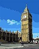 Kits de arte de pintura de diamante 5D, torre de reloj de cielo azul, taladro completo hecho a mano, dibujo de diamante de bricolaje, bordado de diamantes de imitación de cristal en lienzo-50 * 60cm