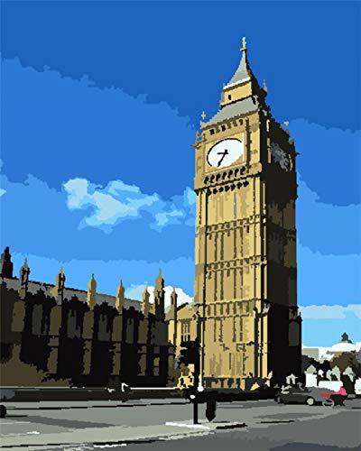 Pintura por números para Adultos DIY Pintura al óleo Kit con Pinceles y Pinturas para Niños Seniors Junior -Sin Marco 16x20 Inch-Reloj de la torre del cielo azul