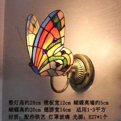 weichuang Luces de decoración de fiesta Tiffany mariposa luces de pared color cristal creativo lámpara dormitorio noche pastoral europeo decoración de pared led (pantalla de color A: A)