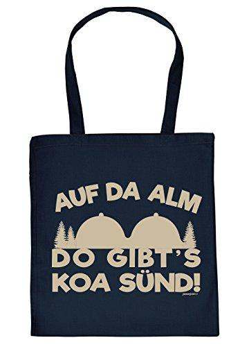Baumwolltasche Wandern Bergsteigen Klettern Sprüche Tasche : Auf da ALM do gibt´s koa Sünd! - lustige Stofftasche - Farbe: Navyblau