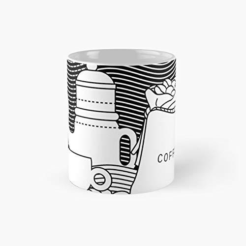 Taza clásica de café con taza y tetera | El mejor regalo divertidas tazas de café de 11 oz