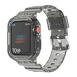 Cinturini sportivi compatibili con cinturino Apple Watch 40mm 41mm 44mm 45mm, trasparente in silicone morbido iWatch Band Strap Bumper Case per Apple Watch Series 7/6/5/4 (44/45mm, Nero)