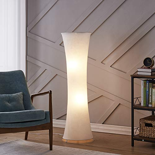 Contemporary Floor Lamp for Living Room Bedrooms, Floor Lamp with White Cloth Fabric Shade, Soft Standing Light Corner Lighting