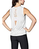 Mippo Workout Tops for Women Sexy Open Back Yoga Tops Loose Fit Backless Workout Shirts Cute Running Racerback Athletic Tank Tops Exercise Muscle Tank Fitness Active Gym Tops White S