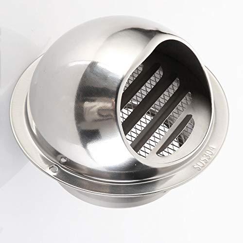 1 paquete de ventilación de aire de acero inoxidable Ventilación redonda, campana de salida de ventilación de aire de pared con malla de pantalla incorporada, lumbrera de ventilación de aire redondo p
