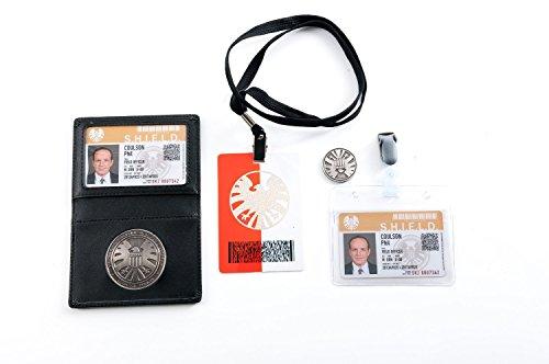 Insignia de agente de Shield en soporte de piel, 2 tarjetas de Phil Coulson con moneda