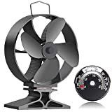 Bluesea Upgrade 4 Blade Heat Powered Wood Stove Fan, Eco Friendly Fireplace Fan, Stove Fan for Gas/Pellet/Wood/Log Burning Stove with Thermometer, Black, Round