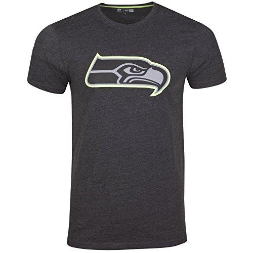 New Era Seattle Seahawks T Shirt Two Tone Pop Tee Heather Charcoal - L
