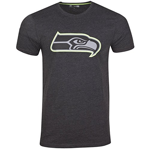 New Era Seattle Seahawks T Shirt Two Tone Pop Tee Heather Charcoal - M