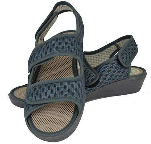 Zapatilla Isasa Baleira Gris Marengo con Triple Velcro, Forro Transpirable, Plantilla Acolchada y Suela de Goma (Numeric_40)