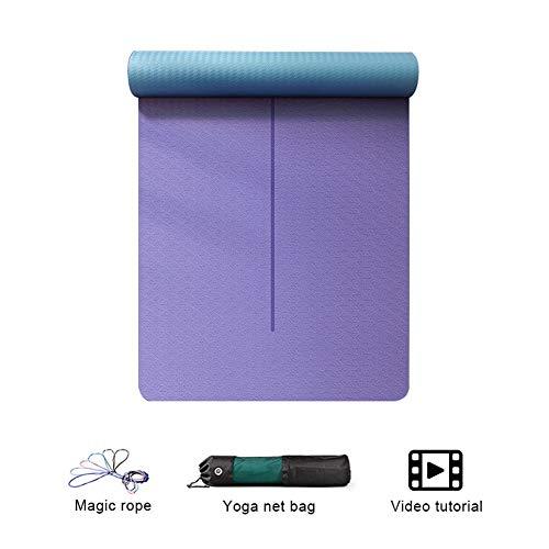 Yogamatte WGXYQ Gymnastikmatte Doppelseitig rutschfest Schneller Rückprall Dicke 6mm TPE Umweltschutz Trainingsmatte Pilates Pad 183cmx66cm (Color : #2)