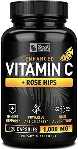 Vitamin C 1000mg with Rosehips 120 Capsules 1000mg Pure Vitamin C Capsules Ascorbic Acid Rose product image