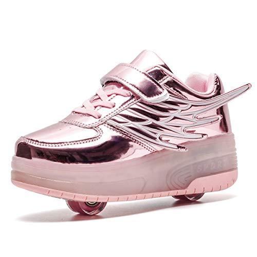 FZ FUTURE Blinken Skateboardschuhe, LED Schuhe mit Rollen, Kinder Schuhe mit Rollen, Skateboardschuhe Kinder Schuhe mit 2 Rollen, mit USB Aufladbare für Kinder Mädchen Junge Erwachsene,Rosa,31