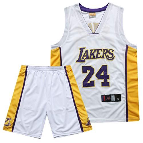 Lakers Fans Basketball Jersey James 23# Kobe Bryant 24#, bola bordada Número de bola para hombre Pantalones cortos de baloncesto Jersey Chaleco deportivo Camiseta 24 White-XXXL