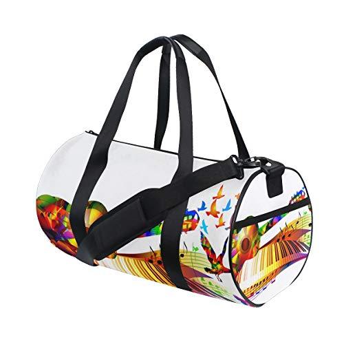ZOMOY Sporttasche,Musik Gitarre Klavier Noten Vögel,Neue Druckzylinder Sporttasche Fitness Taschen Reisetasche Gepäck Leinwand Handtasche
