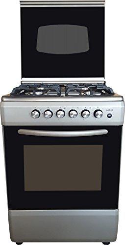 LAREL Cucina Silver/Inox 60x60 4 fuochi con Forno a Gas metano o GPL, Grill Elettrico e Coperchio in Vetro