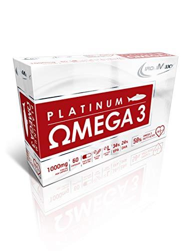 IronMaxx Platinum Omega 3 Kapseln - 60 Fischöl Kapseln - Hochdosiert mit 1000mg Omega 3 Fisch-Öl pro Cap - Reich an wertvollem EPA (34%) und DHA (24%) - Designed in Germany