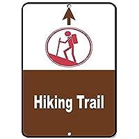 ハイキングトレイル上矢印。金属スズサイン通知街路交通危険警告耐久性、防水性、防錆性