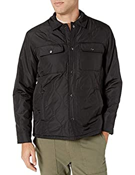 Amazon Essentials Men s Quilted Shirt Jacket Black Large