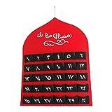 Prosper Calendario Ramadán Eid Mubarak Calendario colgante de cuenta regresiva, calendario de Adviento 2021 para niños Eid Gifts Ramadán Decoraciones Islámicas Arte de Pared Regalos para Niños