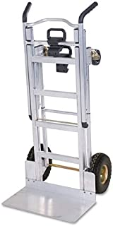 COSCO 12312ABL1D 3-in-1 Aluminum Hand Truck/Assisted Hand Truck/Cart with Flat Free Wheels; Lightweight, commercial-grade aluminum frame features a silver finish; Dimensions 21