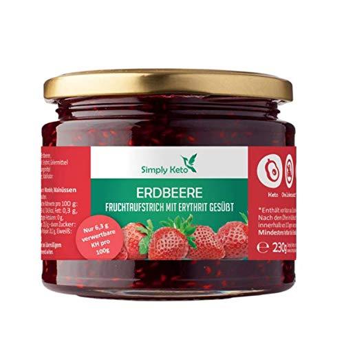 Simply Keto | Erdbeer Fruchtaufstrich mit Erythrit | im 230g Glas | hausgemacht aus eigener Produktion in Berlin | optimal für Low-Carb, Keto, Paleo, vegane, ketogene Ernährung (Erdbeere)