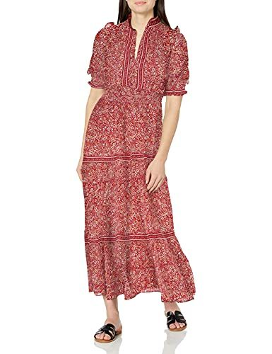 Max Studio Women's Elbow Length Sleeve Print Tiered Maxi Dress, Rose/Coral Clustered Simple Floral, Small
