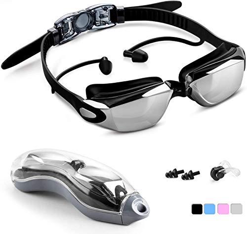 Unisun Gafas de natación Niños Adultos Gafas de natación Ajustables con Tapones para los oídos Nariz Clip Claro Antiniebla Gafas de natación para Hombres Mujeres Niños pequeños Niños 6+