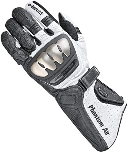 Held Motorradhandschuhe lang Motorrad Handschuh Phantom Air Handschuh schwarz/weiß 9,5, Herren, Sportler, Sommer, Leder
