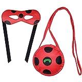Accesorios Para Disfraz Ladybug de Mariquita Niña Halloween Viste a Cosplay 3-10 años Carnaval Cumpleaños Halloween Costume Vestitos Fiesta Ceremonia Ropa (máscara+bag)