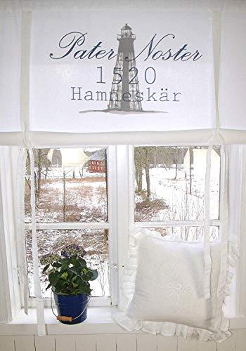 Raff Gardine 1520 GRAU Rollo 120x120 cm Raffrollo Weiß Baumwolle Landhaus Shabby Vintage