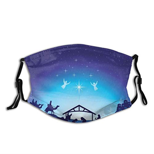 Washable Mouth Protective Anti-Dust Facial Cover,christmas nativity scene,Reusable Windproof for Outdoor Ski Cycling Camping Running