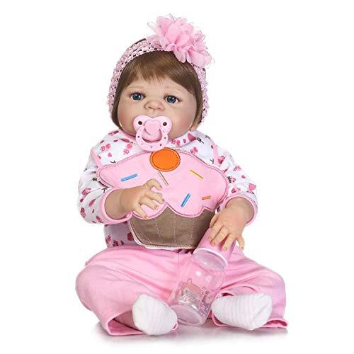 DFJU 22 Pulgadas 55cm My Little Sweetheart Real Baby Size Sonriendo Largo Cabello Liso Princesa Silicona Reborn Baby Girl Muñecas en Vestido de Mariposa Look Real