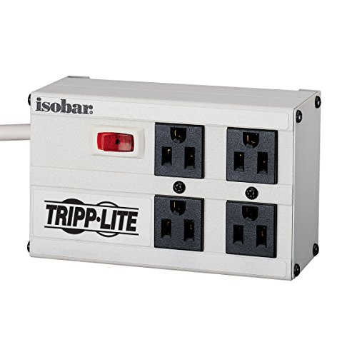 Tripp Lite Isobar 4 Outlet Surge Protector Power Strip, 6ft. Cord, Right Angle Plug, 3330 Joules, Metal, & $50,000 Insurance (IBAR4-6D),Gray
