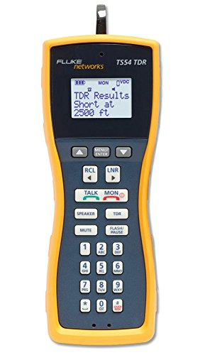 Fluke Networks TS54-BANA Premium Voice Data and Video Telephone Test Set with TDR, Extra-Large Alligator Clips and Test Probe, 4mm Banana