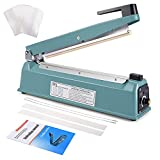 Suteck 12 inch Impulse Bag Sealer, Manual Poly Bag Sealing Machine w/Adjustable Timer Electric Heat Seal Closer with 50Pcs 4X6 Inch Shrink Wrap Bag and 2 Free Replacement Kit (12 inch)