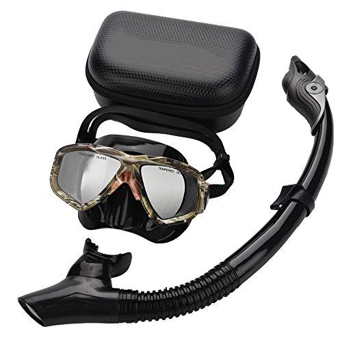 Dioche Juego de Buceo de Buceo, Gafas de Snorkel de Vidrio Templado, con válvula de respiración de Tubo de Aire, Adecuado Tanto para Hombres como para Mujeres