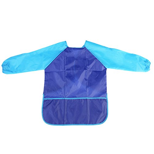 PIXNOR Tablier de peinture imperméable à manches longues pour enfant Bleu