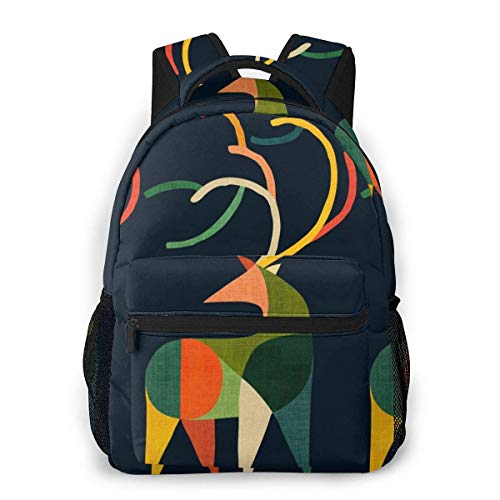 Casual Backpack Patched Deer Men and Women Casual Style Canvas Backpack School Bag,