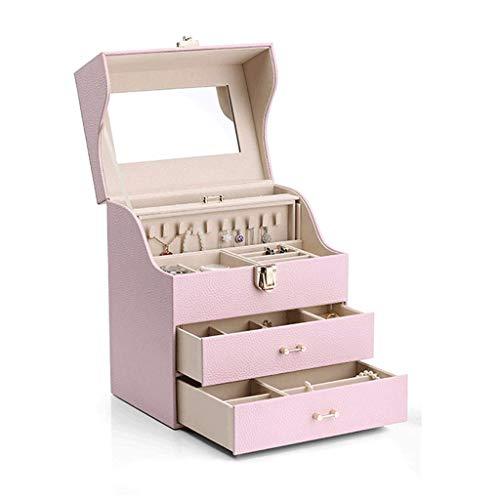 Caja de joyería 25.5 * 18.2 * 29.4cm Pendientes de joyería Almacenamiento Collar de Gran Capacidad Caja de Reloj Regalo de Boda (Color: Rojo) leilims (Color : Pink)