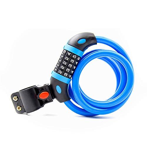 Bicicleta Ciclismo Montar contraseña Bloqueo 5 Número Número de Seguridad Digital MTB Codificado Cable Cable Cable de Acero Truco Accesorios de Lock (Color : Blue)