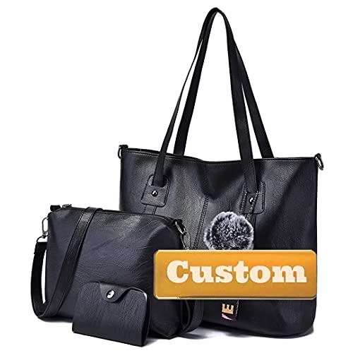 Nombre Personalizado Top Zip Mujer Hombro PU Cuero Bolsa de Asas Medio Montones y Bolso (Color : Black, Size : One Size)