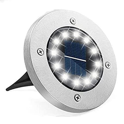 Bzavor 1 lámpara solar de suelo exterior, 12 ledes, con panel solar actualizado, lámpara solar decorativa para césped, acera, piscina, terrazas (blanco frío)