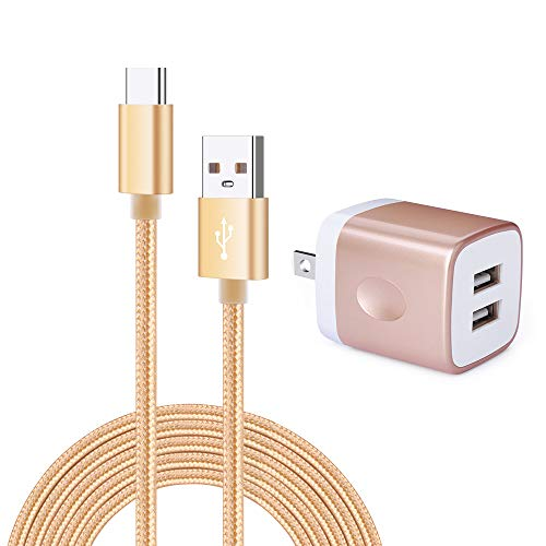 USB Wall Charger,Charging Block, Kakaly Mini Compact Wall Chargers with 1-Pack Fast Charge Sync USB C Cable Compatiable for Samsung Galaxy S10e S10 S9 S8 Plus Note 9 8, LG G8, Google Pixel