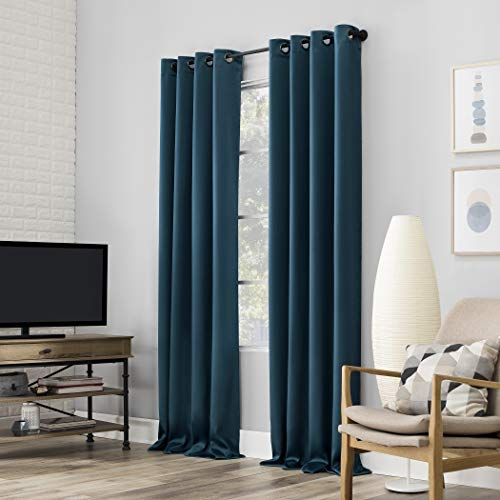 """Sun Zero Nordic 2-pack Theater Grade Extreme 100% Blackout Grommet Curtain Panel Pair, 52"""" x 84"""", Teal"""