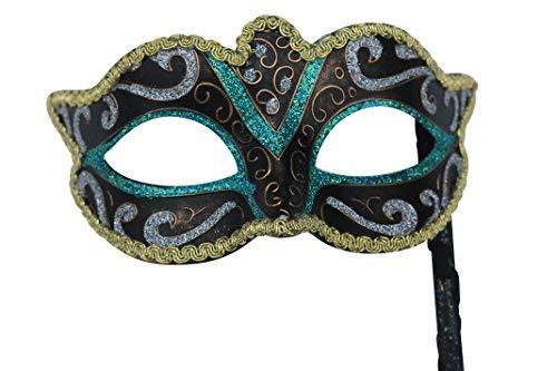 The Good Life Vénitien Masque de Mascarade Partie des Yeux Masque Vert, Noir, Argent, Bronze et Or sur Un bâton